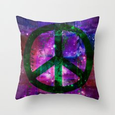 Peace symbol and infused colors Throw Pillow
