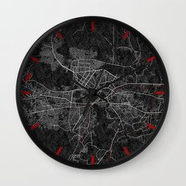 Kabul, Afghanistan City Map - Oriental  Wall Clock