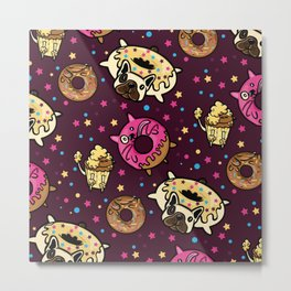Funny Donut Dog and Cat Pattern Metal Print