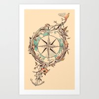 voyage Art Prints featuring Bon Voyage by Norman Duenas