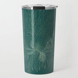 unusual flowers on an emerald background Travel Mug