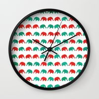 elephants Wall Clocks featuring Elephants  by UvinArt