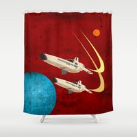 battlestar Shower Curtains featuring Galactica by Tony Vazquez