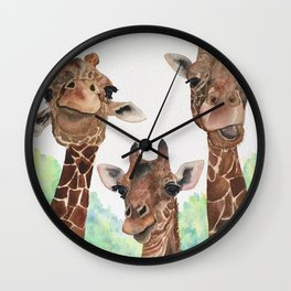 Giraffe's Family Portrait by Maureen Donovan Wall Clock