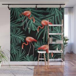 Summer Flamingo Jungle Night Vibes #2 #tropical #decor #art #society6 Wall Mural