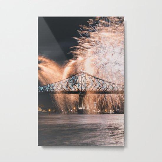 Fireworks bridge Metal Print