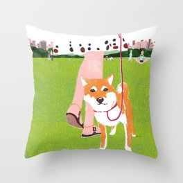 Shiba inu in Central Park Throw Pillow