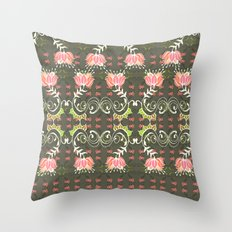 Lotus and some other squiggly lines  Throw Pillow