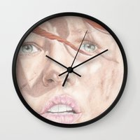 fifth element Wall Clocks featuring The Fifth Element by JadeJonesArt