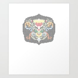 Real Cross Stitchable Pattern -- Renaissance Floral Color Coded Chart Art Print