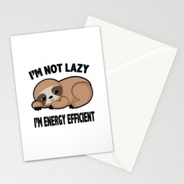 Im Not Lazy Cute Sloth Tired Relax Chilling Gift Stationery Cards
