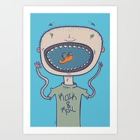 rock and roll Art Prints featuring Rock & Roll by Molly Yllom Shop