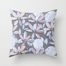 Leaf pattern | pale purple, grey and blue Throw Pillow
