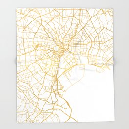 TOKYO JAPAN CITY STREET MAP ART Throw Blanket