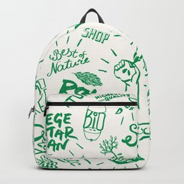 Organic Food Hand Lettering Print Backpack