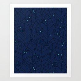 Leaves Pattern - Dark Night Art Print