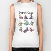 superheros Biker Tanks featuring SuperCats by trheewood