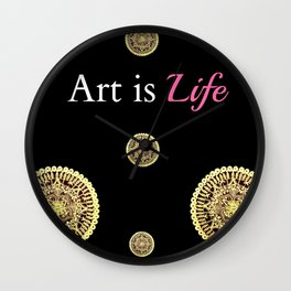 Gold and Black Art Is Life Mandala Repeated Graphic Design Wall Clock