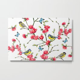 Tropical japanese sakura, magnolia, butterflies, birds. Vintage hand drawn illustration pattern. Metal Print
