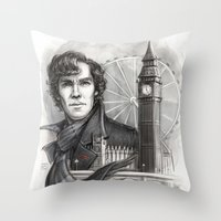 sherlock Throw Pillows featuring Sherlock  by RileyStark
