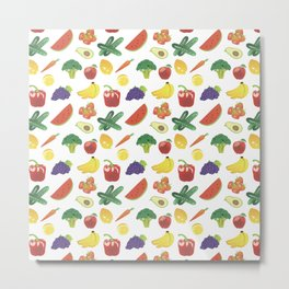 Colorful Fruits and Vegetables Metal Print