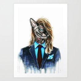 My hipster sphynx Art Print