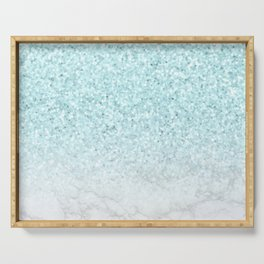 Turquoise Glitter and Marble Serving Tray