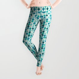 Midcentury Modern Dots Blue Leggings