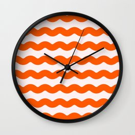 Winter 2018 Color: Unapologetic Orange on Pink Waves Wall Clock