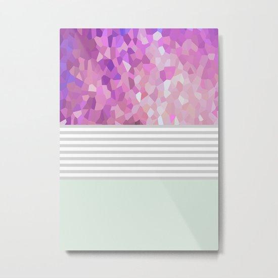 Pink Dreams on grey stripes Metal Print