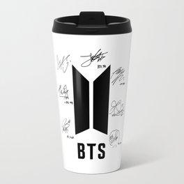 bts signatures black Travel Mug