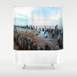 Water licks the Wharf's Remains Shower Curtain