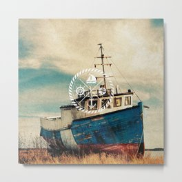 Blue Brown Vintage Nautical Anchor Sailing Boat Metal Print