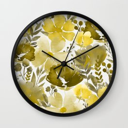 Watercolour background with variety of flowers VI Wall Clock