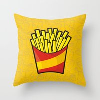 french fries Throw Pillows featuring French Fries by Sifis