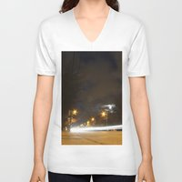 broadway V-neck T-shirts featuring Broadway night blur by RMK Photography