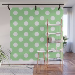 Granny Smith apple - green - White Polka Dots - Pois Pattern Wall Mural