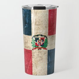 Vintage Aged and Scratched Dominican Flag Travel Mug