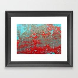 texture - aqua and red paint Framed Art Print