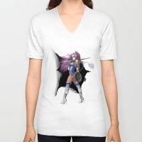 manga V-neck T-shirts featuring Manga Unicorn by Illu-Pic-A.T.Art