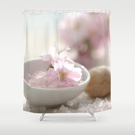 Still life for Bathroom with almond blossoms Shower Curtain