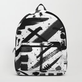 Abstract Black and White Watercolor Brush Lines Bold Modern Painting Design Backpack