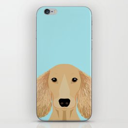 Long Haired Dachshund cream coat cute pet portraits custom dog breed art iPhone Skin
