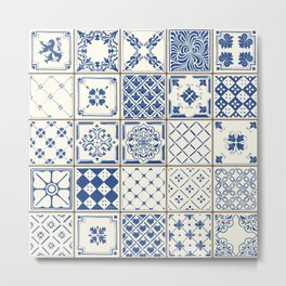 Blue Ceramic Tiles Metal Print