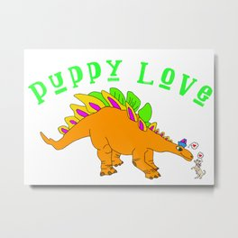 Dinosaur Puppy Love Metal Print
