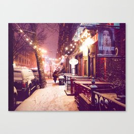 Winter Night with Snow in the East Village New York City Canvas Print