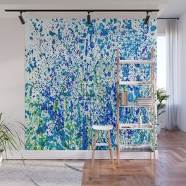 Splattered Blue! Transparent Floral Abstract - Painting Wall Mural
