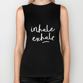 Inhale Exhale black-white typography poster black and white design bedroom wall home decor Biker Tank