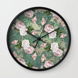Shabby Rose Damask Pattern Wall Clock