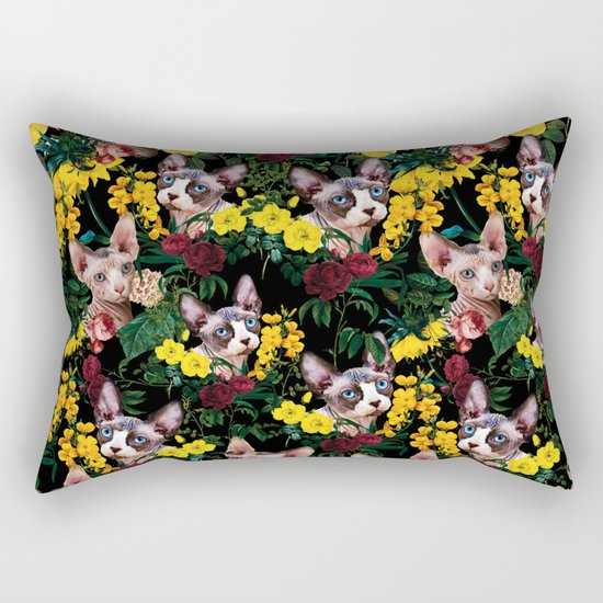 Floral and Sfenks Cat Pattern Rectangular Pillow